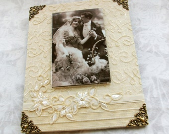 Wedding Photo Frame, Handmade Frames, 8 x 10 Frame, cream, Ivory, Decorative photo Frames for Wedding, Wedding Gifts