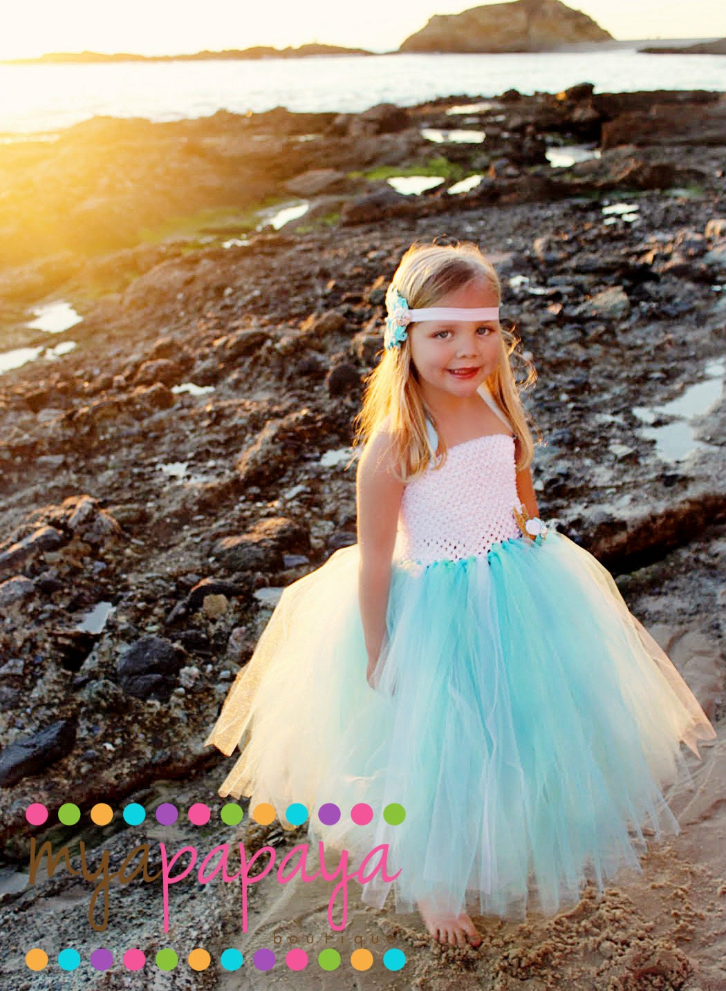 Mermaid tutu dress 12months5t birthday by myapapayaboutique for Flower girl dress for beach wedding