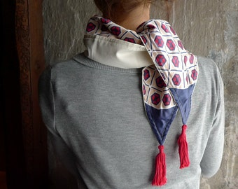 Tassel Scarf, Neck Scarf, Spring Scarf, Fashion Accessories, Nautical Scarf - Ivory Geometric Vintage Retro Fabric, Jersey -  Red, Blue