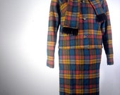 Plaid Wool Skirt Suit // 1960s Jacket Outfit // Vintage Junior House Milwaukee  // Mad Men Outfit // Womens Halloween Costume