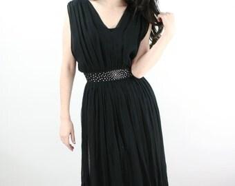 SALE 50s Hollywood Little Black Chiffon & Rhinestone Cocktail Dress // Pleated Skirt Key Hole Back Glamorous