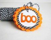 ON SALE 4 Halloween BOO tags, Halloween Treat Bag Tags, Trick or Treat Labels  A689
