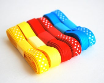 Basic Ribbon, Grosgrain Ribbon Set, Basic Colors Ribbon solid and Polka dots (18 yards)  A622