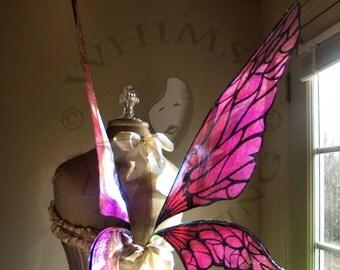 Full Color Natural Fairy Wings Wedding Halloween Costume Faerie Reenactment Fantasy Renaissance Custom Cellophane Cosplay