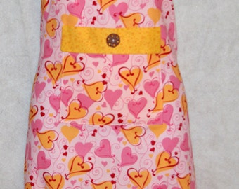 Pink Hearts Valentine Apron, Personalized Monogrammed Embroidered With First Name, SALE, No Shipping Charges, Ready To Ship TODAY AGFT 142