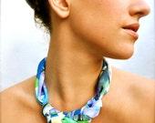 Geometric Fabric Statement Necklace - Scarf Jewelry