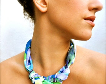 Geometric Fabric Statement Necklace - Scarf Jewelry