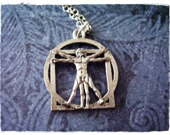 Silver Vitruvian Man Necklace - Antique Pewter Vitruvian Man Charm on a Delicate Silver Plated Cable Chain or Charm Only