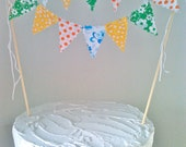 Cake Bunting Topper Retro style Flowers and dots Kelley Green, Bright Yellow, Orange and Blue
