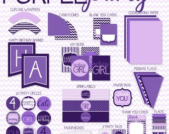 Purple Party PRINTABLE Birthday by Love The Day
