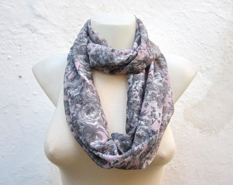Gray infinity Scarf,Grey Chiffon Scarf,Loop Scarf,Gift For Her