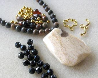 Jasper Pendant, Shell Beads,  Czech Beads, Glass Beads, Gemstone Beads, DIY Jewelry Kit, Craft Supply, Jewelry Making Beads, Brown Black