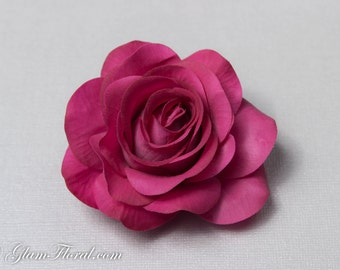 Wine Purple Rose Hair Clip, Real Touch Wedding Hair Fascinator Hair Head Piece. bridesmaids, prom Real Touch Flowers. Tea Rose Collection