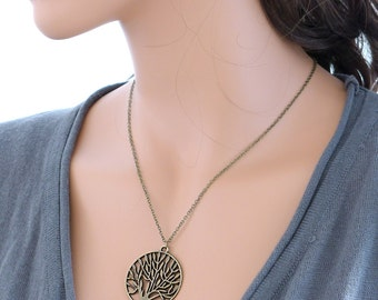 Tree of life Necklace, Antique Brass Charm Pendant, Holidays gift, everyday jewelry, by balance9