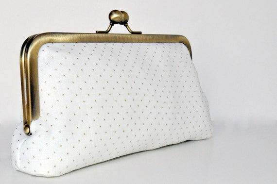gold pin dot clutch collection : bridal clutch, bridesmaid gift, evening bag, ivory, dusty rose and gray with metallic gold pin dots