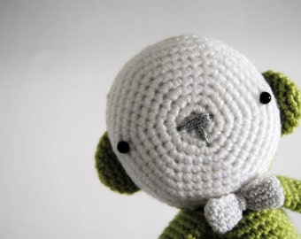 Green Monkey with a bow, hand-crocheted toy, amigurumi, ready to ship