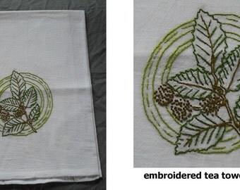 Hand Embroidered Dish Tea Towel Flour Sack Cotton Kitchen - Apples Branch Limb Bell Pepper Plant Leaf Retro Vintage Stamped Design Gift