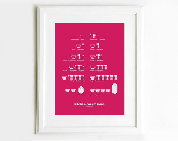 Hot Pink Kitchen Conversions Art Poster, Kitchen Art, Kitchen Prints, Kitchen Conversion Chart, 13x 19