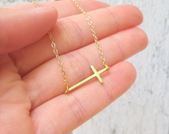 Sideways Cross Necklace Silver or Golden, Simple Cross Necklace, Horizontal Cross
