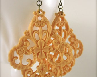 Chunky Orange Earrings Statement Jewelry Orange Filigree Earrings Large Boho Earrings