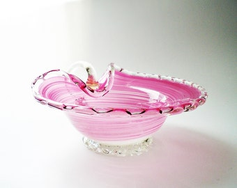Vintage Murano Art Glass Decorative Bowl / Candy Dish Swirled Pink Glass w/ gold flecks Rose Quartz Home Decor OOAK