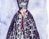 Original Watercolor Painting - Black Lace Vintage Dress - Fashion Illustration - Original Art, 7x10