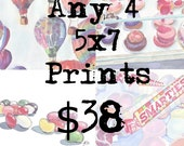 5x7 Print Set Watercolor Painting Illustration - Set of 4 5x7 Watercolor Art Prints - Wall Art for 38 Dollars