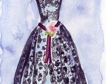 Original Watercolor Painting - Black Lace Vintage Dress - Fashion Illustration - Original Art, 7x10