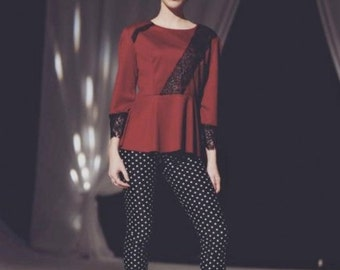 Red Peplum Top with Black Lace