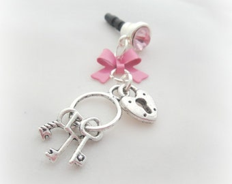 Key to your heart iPhone dust plug charm, smartphone earphone jack charm, phone charm
