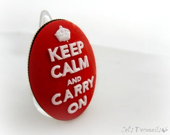 Keep calm and carry on cameo ring, red adjustable ring, statement ring, chunky ring