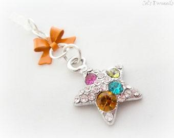 Orange gemstone star phone plug charm,  iPhone earphone jack charm for, gift for her