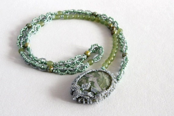 Beadwoven pendant necklace, gemstone beadwork green and grey serpentine handmade, gift for her