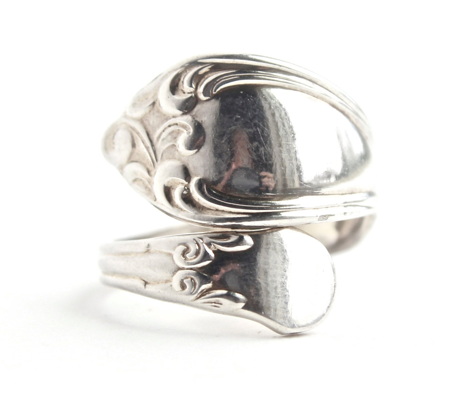 vintage spoon ring vintage size 7 silver plated by