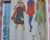 McCalls Pattern 2035 Girls Jumper with Three Fronts Size 7 Breast 26 Vintage 1960s Cut/Complete