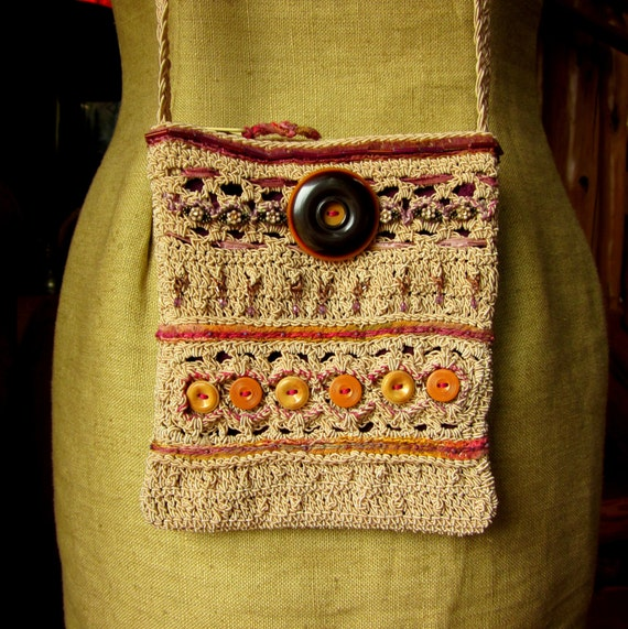 Upcycled Crocheted Purse with Handstitching, Vintage Buttons and Beading
