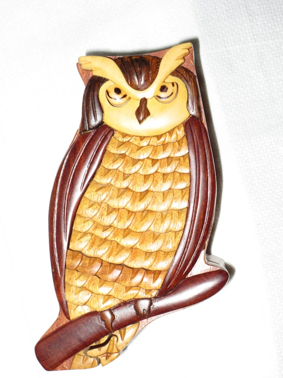 Owl puzzle box wooden carved by gatormom