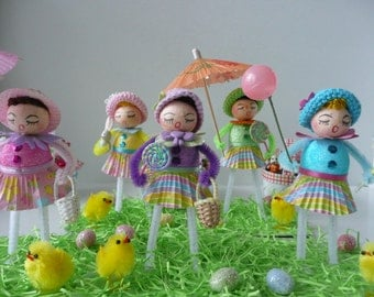 OOAK Vintage Style Spun Cotton and Chenille Easter Parade Doll Decorations