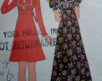 70s Maxi Dress Pattern McCalls 3799 Bust 34 Boho Dress PatternEmpire Waist Midriff Band