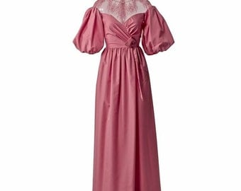 Vintage Rose Gown with Pouf Sleeves