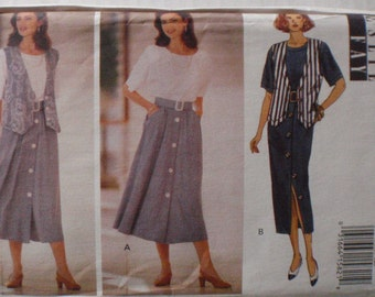 Leslie Fay Sewing Pattern - Misses/Misses Petite Vest and Dress - Butterick 6689 - Sizes 18-20-22, Bust 40 - 44, Uncut
