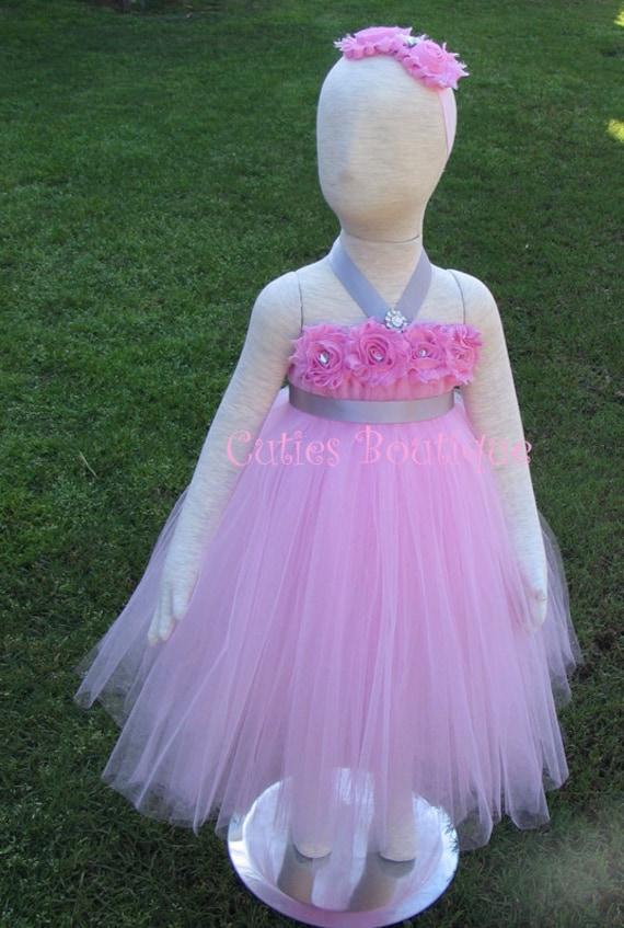Pink flower tutu dress with grey sash wedding birthday holiday picture