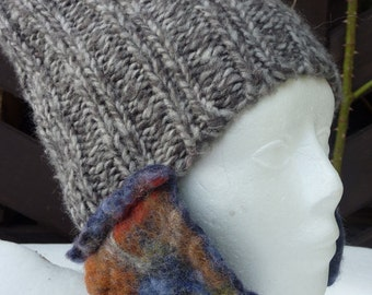 Hand Knitted Hat with Multicolor Felted Earflaps - Gray Women Hat - Warm Winter & Spring Cap