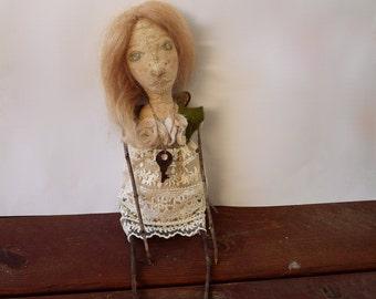 Rustic Folk Art Doll, Mixed Media, Green Angel No. 1