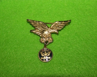 Vintage F.O.E. Fraternal Order of the Eagles Ladies Auxiliary Brooch