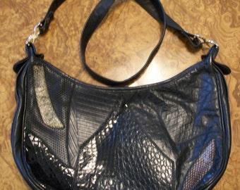 PALIZZIO Black Leather & Reptile Skin Purse ,Christmas Sale, Nanas Vintage Shop on Etsy