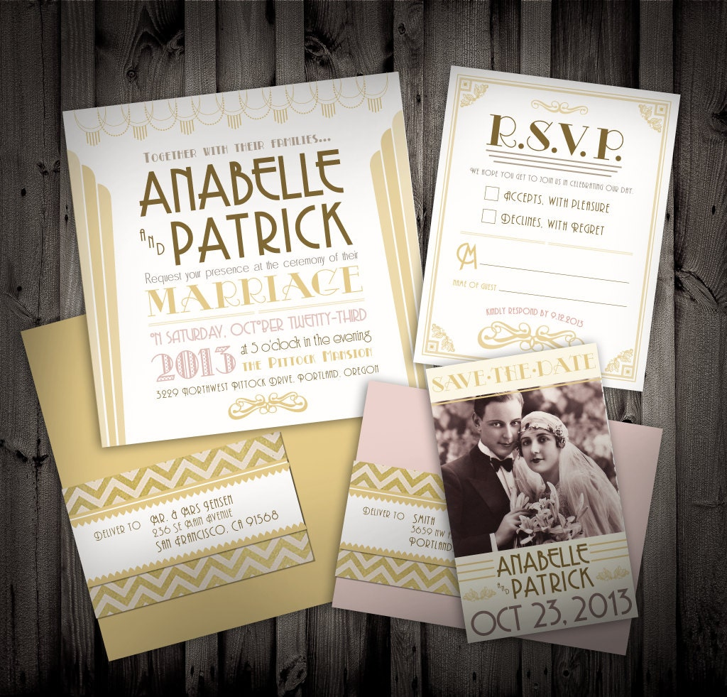 Great Gatsby Art Deco Themed Wedding Invitations And By NimbiShop