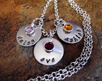 Mommy Necklace, Personalized Jewelry, Hand Stamped Jewelry, Personalized Necklace, Birthstone Necklace, Name Necklace, 1 to 10 silver discs
