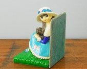Doe-Eyed Girl with Puppy Bookend