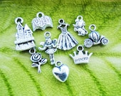 9 different charms pendants Fairytale 2 Collection set princess ever after heart hearts book crown pumpkin carriage fairy  - P0014-9